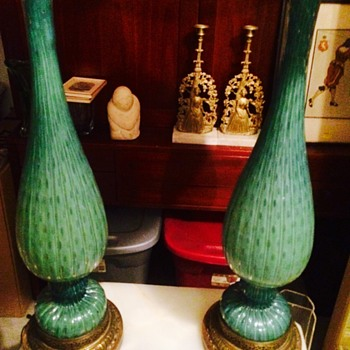 Vintage Pair of Green Murano Lamps