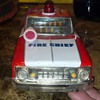 F D fire chief tin friction car