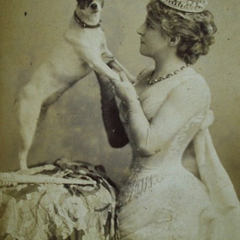 Lillie Langtry and a Jack Russell Terrier Rare Cabinet Card