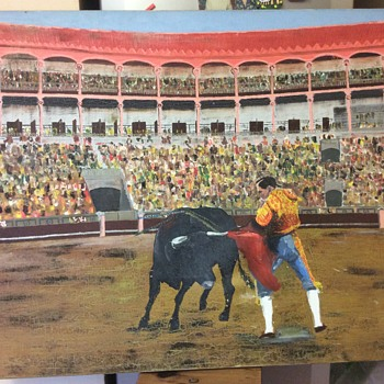 Old Matador & Bull In Ring Oil Painting Signed RJG - AJG  - Visual Art