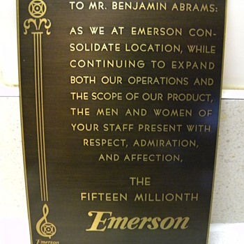 EMERSON RADIO 1954 BRASS PLQUE, JERSEY CITY EMERSON PLANT - Office