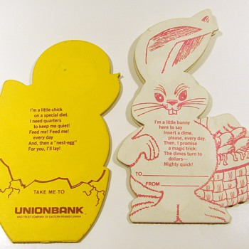 3 Coin Savers - Easter Theme - Vintage - Advertising