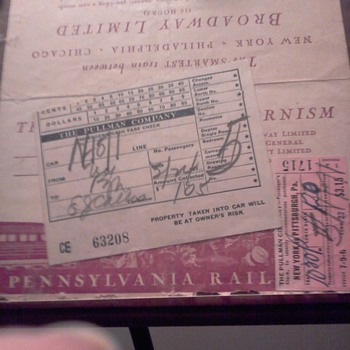 Broadway limited fare stub from the pullman company. Date stamped on it is mar. 24 1939