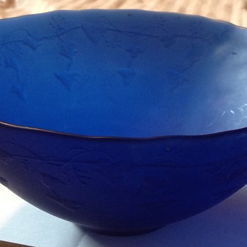Blue glass frosted & textured bowl, age & maker unknown