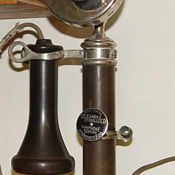 Julius Andrea candlestick phone with Red Cross mouthpiece - Telephones