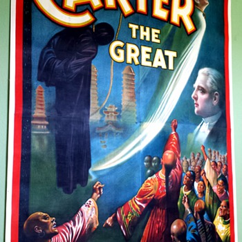 "Original 1926 Carter The Great ""cheats the gallows"" Stone Lithograph Poster - Posters and Prints"
