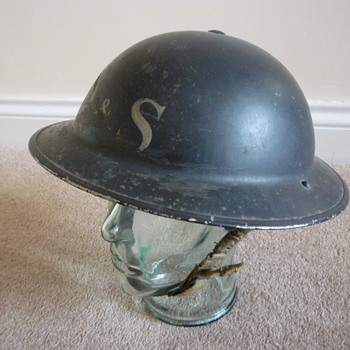 British WWII Factory Security steel helmet - Military and Wartime