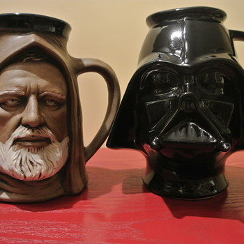1977 Starwars Obi Wan Kenobi and Darth Vader Ceramic Mugs