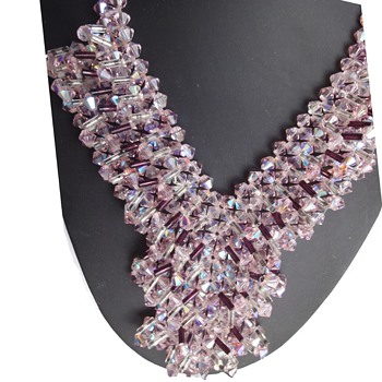 Stunning 50s sparkling Amethyst colored crystal Rhinestones necklace - Costume Jewelry