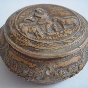 Old & Signed Italian Pottery Covered jar/box~Pastoral Theme