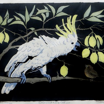 Orig. Lino-cut by Australian Artist Ursula Ridley Walker~of Cockatoo, Bird, &amp; Lemons - Posters and Prints