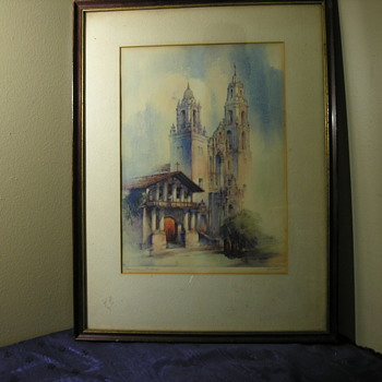 Early Color Lithograph or Pencil Drawing of Mission Delores in San Francisco