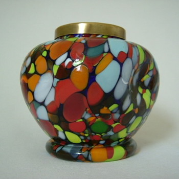 Czech Art Deco Spatter Glass Rose Bowl - Art Glass