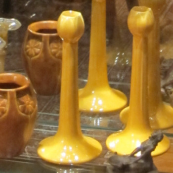Large Rookwood candle sticks (Yellow) and small vase