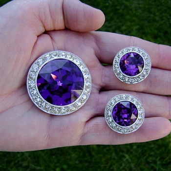 Sarah Coventry Brooch and Earrings - Royal Velvet - Costume Jewelry
