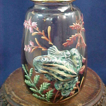 Harrach Hand Painted Enamel & Applied Frog Vase - Art Glass