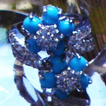 Turquoise and White Glass Stone on Silver Ring - Costume Jewelry