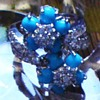 Turquoise and White Glass Stone on Silver Ring