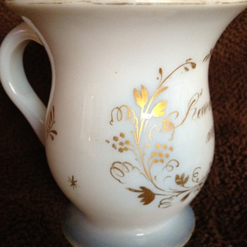 "Blown glass Victorian ""Remember Me"" mug"