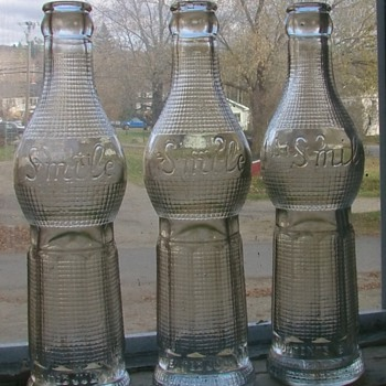 Three SMILE bottles ...ART DECO 1922...ALWAYS GOOD DAY DIGGING!