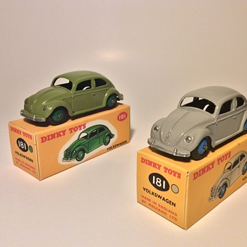 Dinky toys 181 VWs- Green and Grey - Model Cars