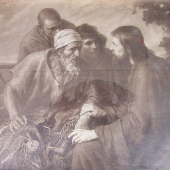 1898 Jesus fishing art work Signed and dated - Visual Art