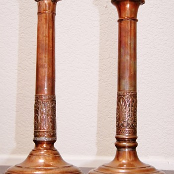 "Antique Georgian Copper Scrollwork Candlesticks England TY""EYE"""