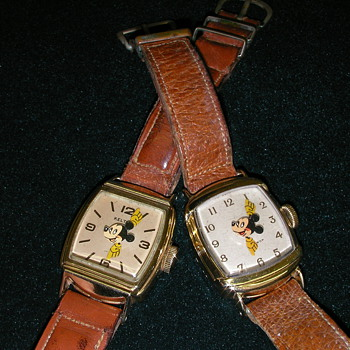 Two variations of 1946 Kelton US Time Mickey Mouse watches