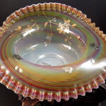 Antique Victorian Bohemian Opalescent Rainbow Swirl Art Glass Bowl - Art Glass