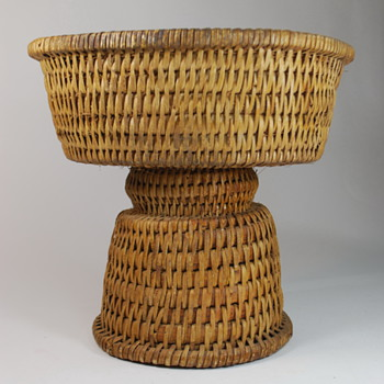 Large Old Hourglass shaped Pedestal Basket