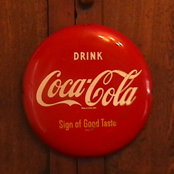 "Original 1950s 12"" Coca-Cola Button - Coca-Cola"