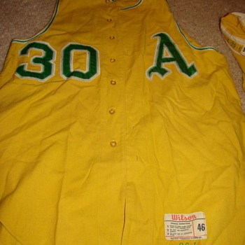 1966 Kansas City A&#039;s #30 gold vest jersey &amp; pants... feedback? - Baseball