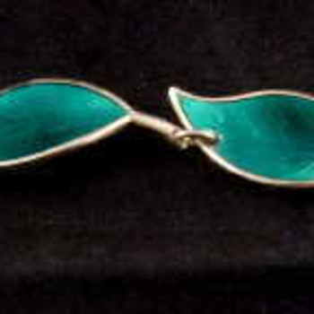 David Andersen Norewgian Sterling & Enamel Leaf Bracelet - Willy Winnaess Designer