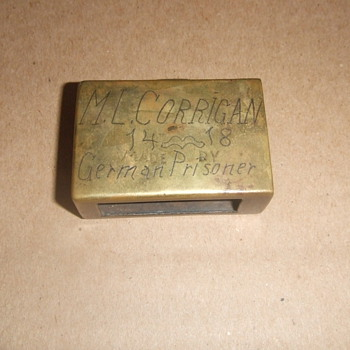 WW1 trench art matchbox holder