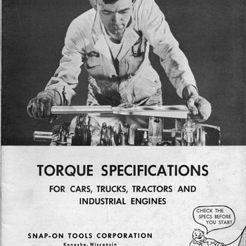 1952 - Snap-On Tools Torque Spec Manual - Paper