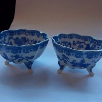 Blue White Transfer ware open salts or sauce cups bowls - China and Dinnerware