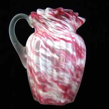 Scarce Northwood Ribbed Pillar in Pink Spatter & Satin Glass Creamer