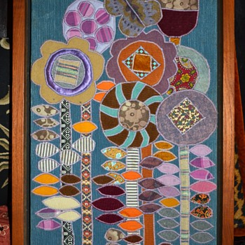Large and Beautifully-framed Embroidered Applique 'Painting'? - Mid-Century Modern