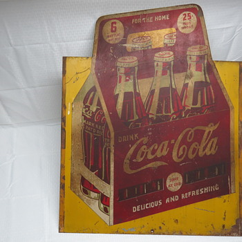 """Extremely RARE 1940 Drink Coca-Cola Hand Painted Metal Commissioned 6/Six Pack Diecut Advertising Sign 1 of 1 ? Large 36"""""""