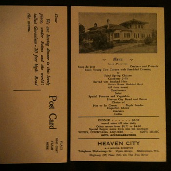 Heaven City Menu Postcard