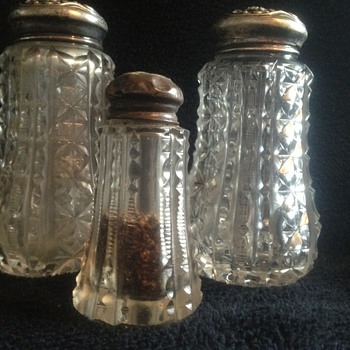 Large American Brilliant Cut Glass Shaker Set
