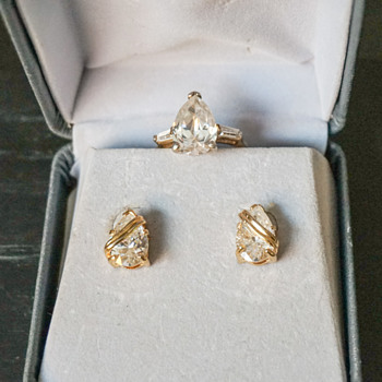Tear Drop Shaped CZ Earrings & Ring