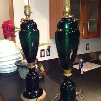 Emerald Green Glass Table Lamps - Lamps