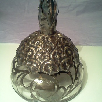 Vtg Sterling Overlay Glass Inkwell with Pineapple Shaped Top  - Art Nouveau