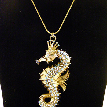 Vintage Seahorse Necklace - Costume Jewelry