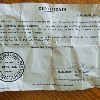 "Any Value to a WW2 US ""Captured Enemy Equipment"" Certificate"