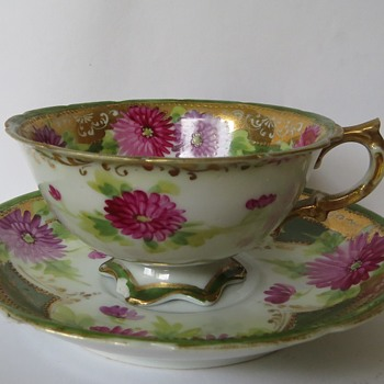 Hand Painted Porcelain Cup and Saucer - China and Dinnerware