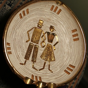 Really BIG Ashtray - midcentury - Gold Peasant Couple - Pottery