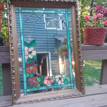 Leaded Glass Mirror With Ornate Wood Frame 1966 - Art Glass