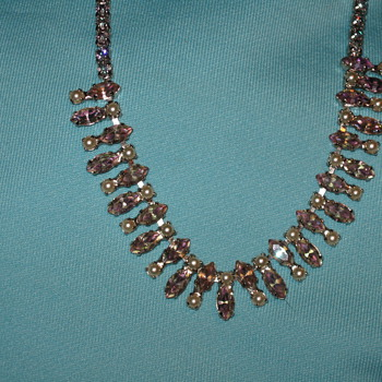 Lavander rhinestone necklace - Costume Jewelry